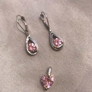 Pink drop earrings & Heart Shaped Pendant